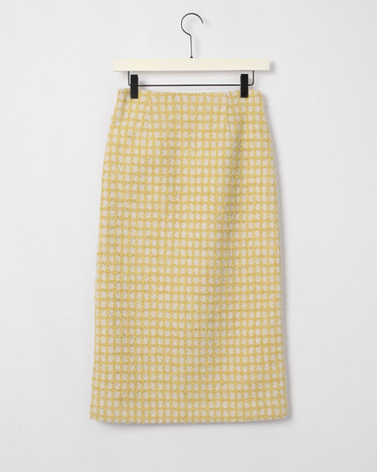 Gisel Front Slit Wool Tweed Skirt
