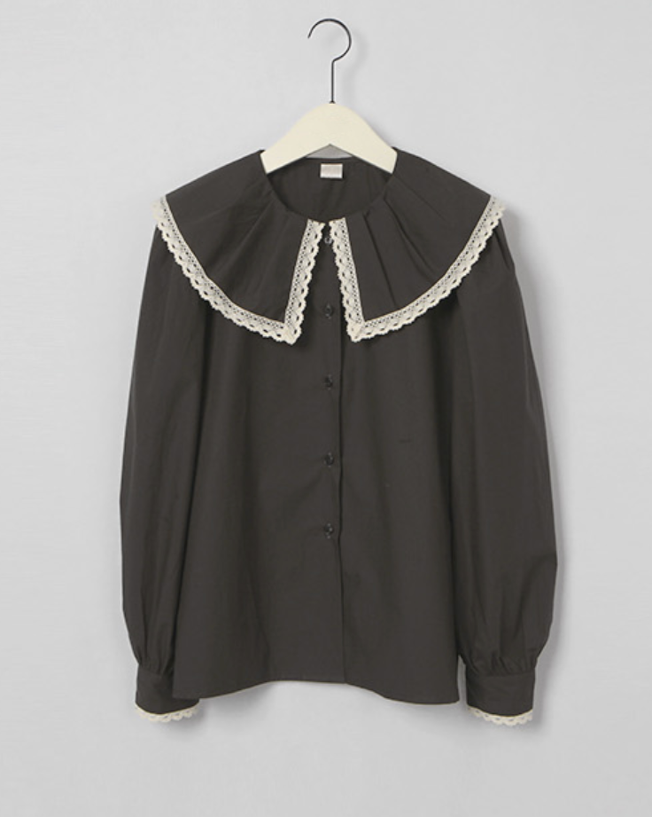 Merin Lace Trim Pointed Collar Blouse