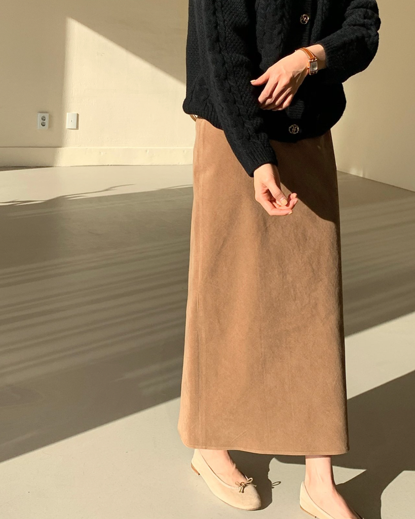 Hilda Corduroy Long Skirt (Camel)