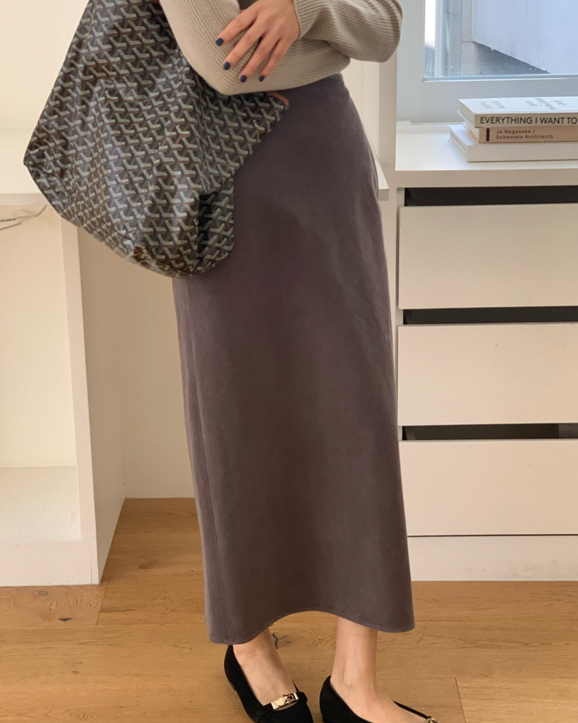 Hilda Corduroy Long Skirt (Grey)