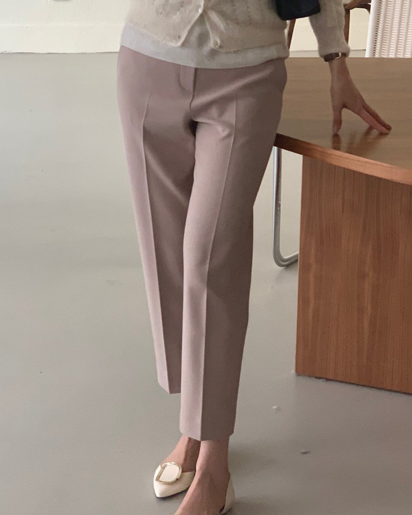 Jenn Tapered Pressed Pants (Beige)