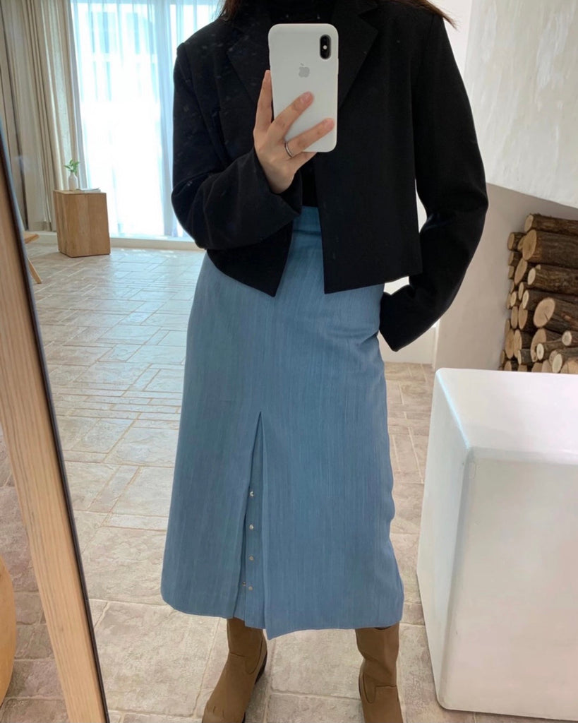 Bottom Button Denim Skirt (Light Blue)
