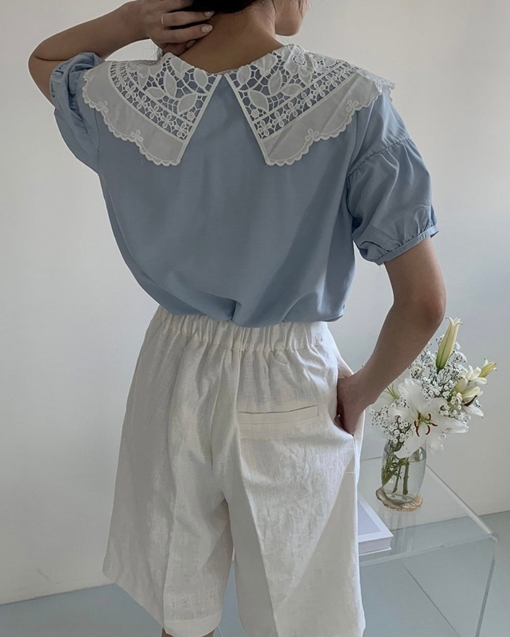 Jas Punch Lace Collar Blouse