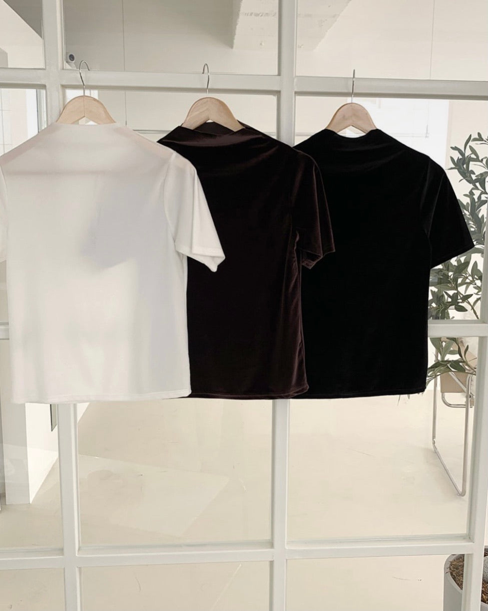 High Neck Slight Shine Blouse (Black)