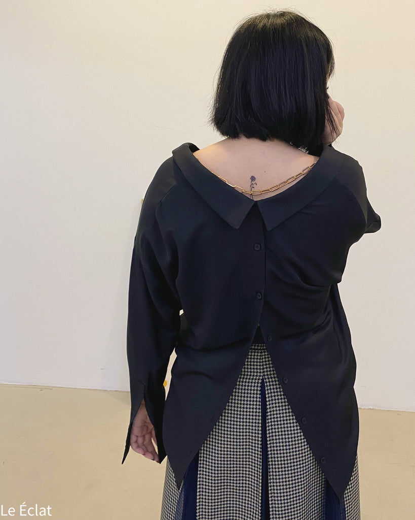 Chain Necklace Detail V Blouse (Black)