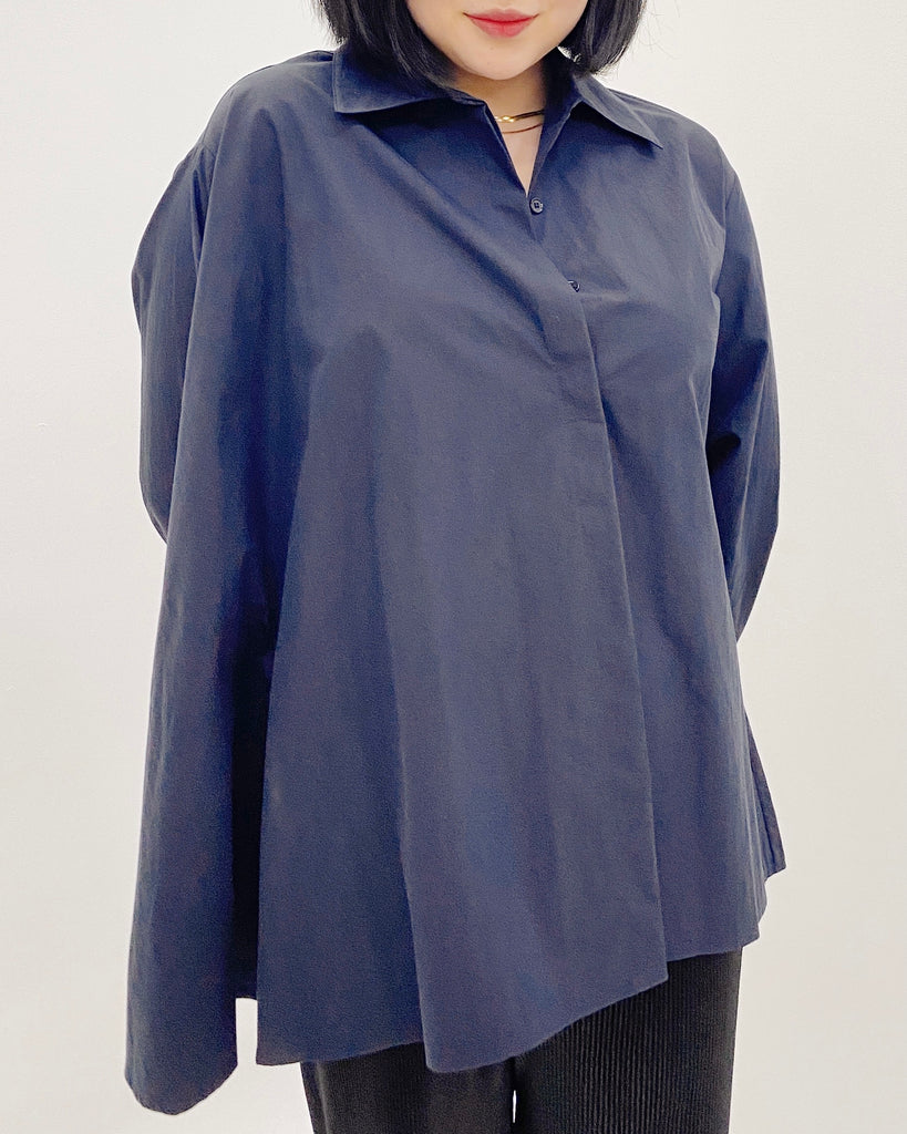 Flare Side Button Down Shirt (Navy)
