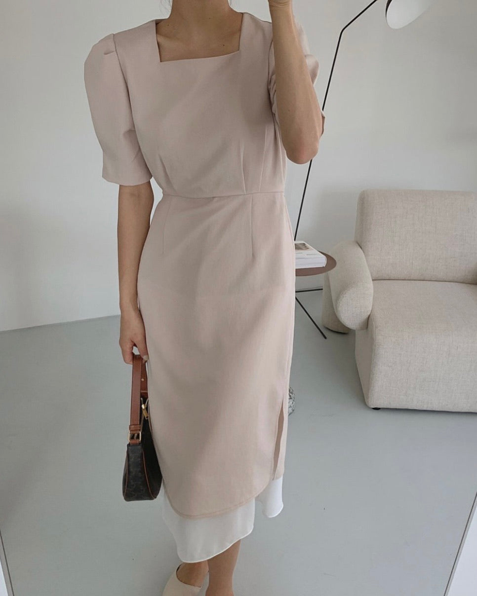 Double Layered Square Neck Pin-tucked Ops (Beige)