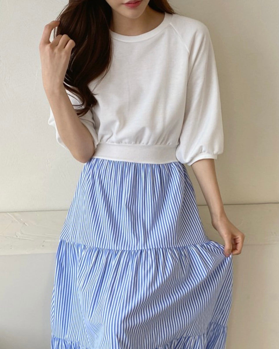 Aria Striped Shirring Cotton Ops