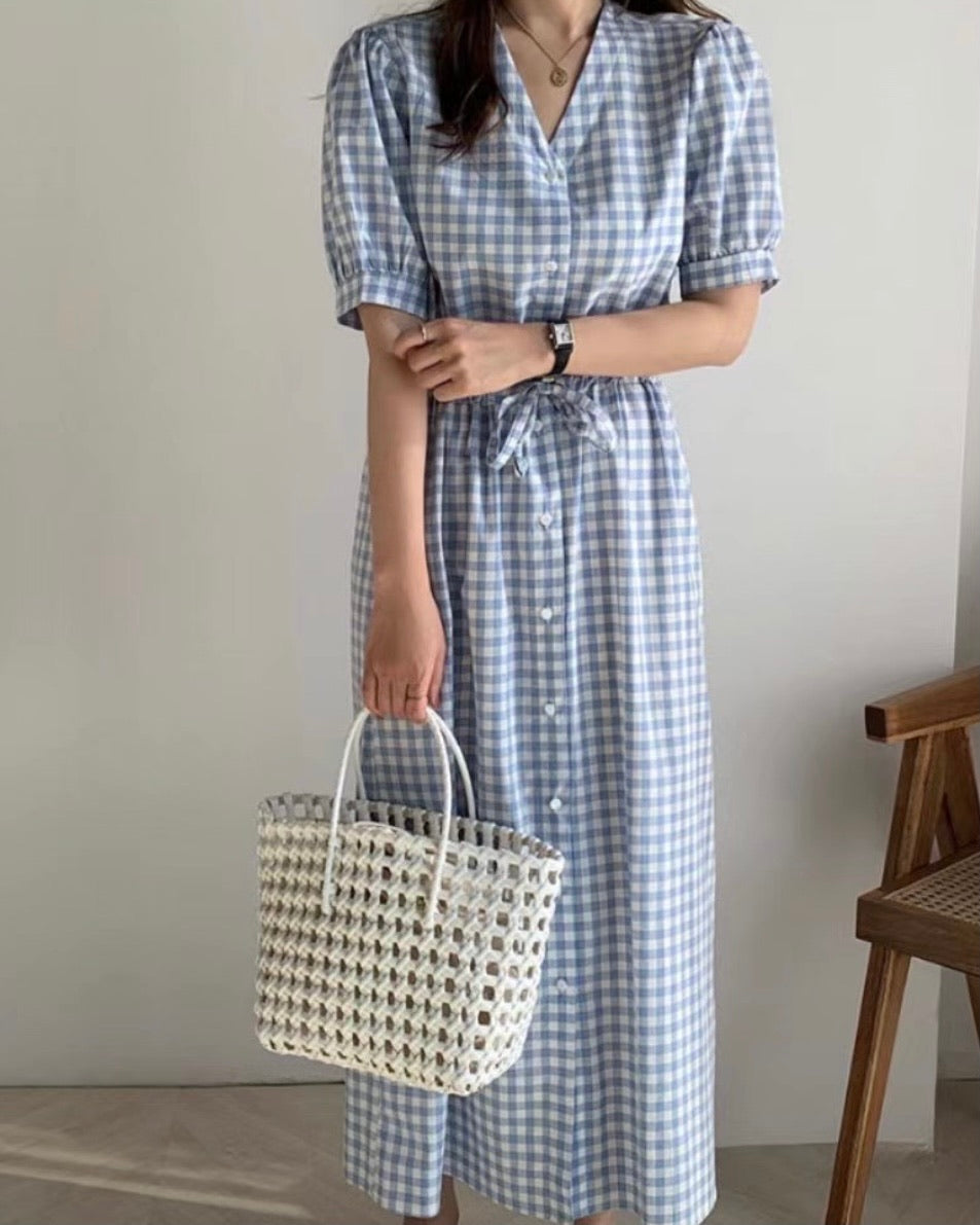 Puff Sleeve Checkered Drawstring Ops