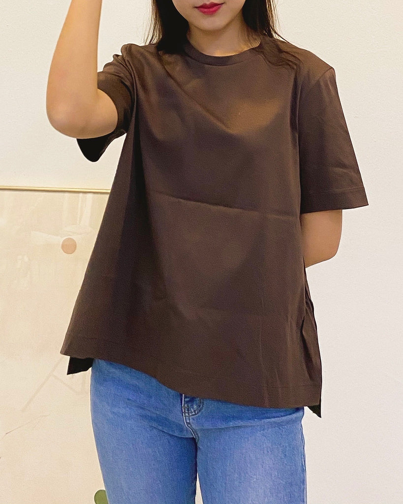 Padded Shoulder Basic Tee (Brown)