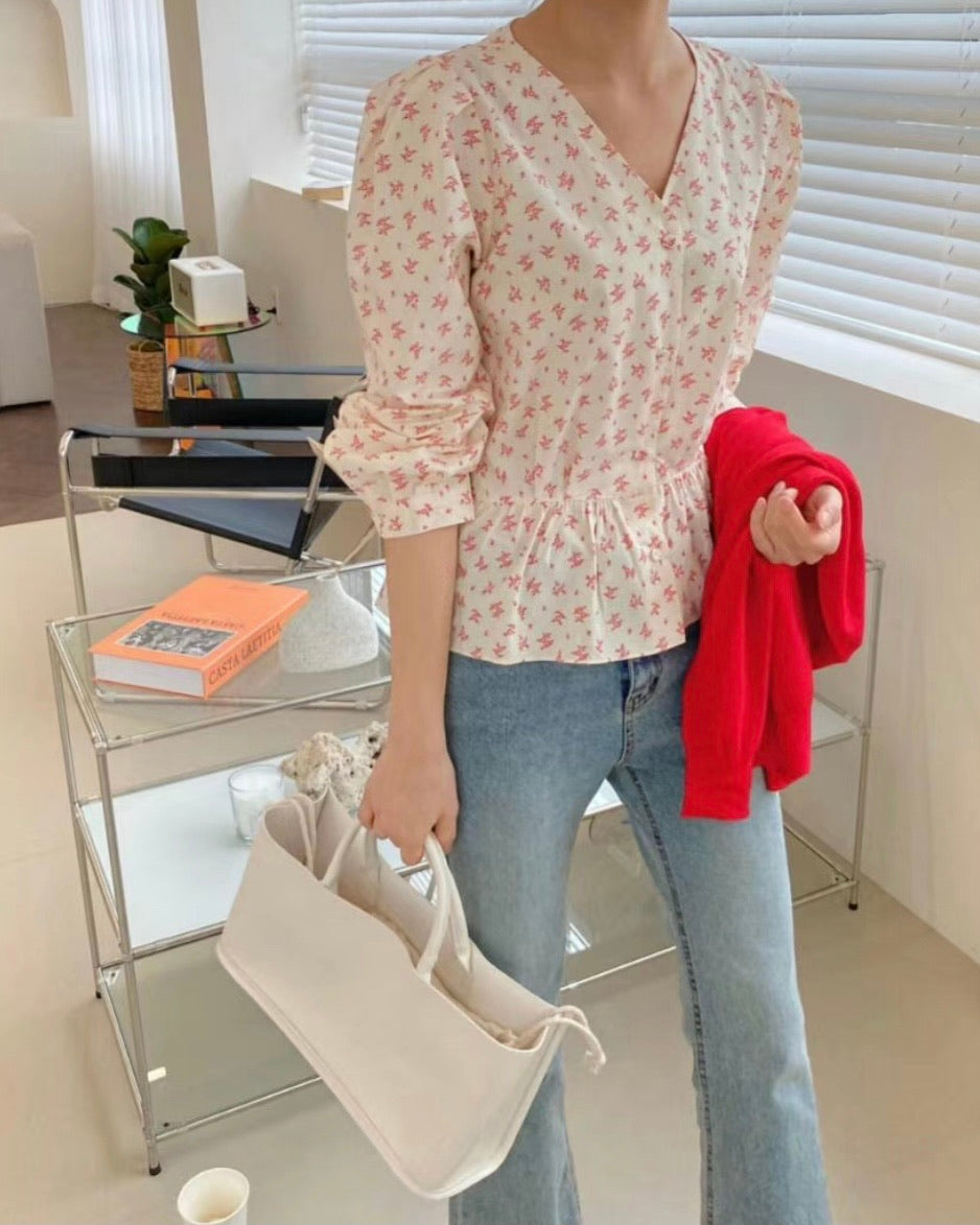 Rose Print Blouse (Red)