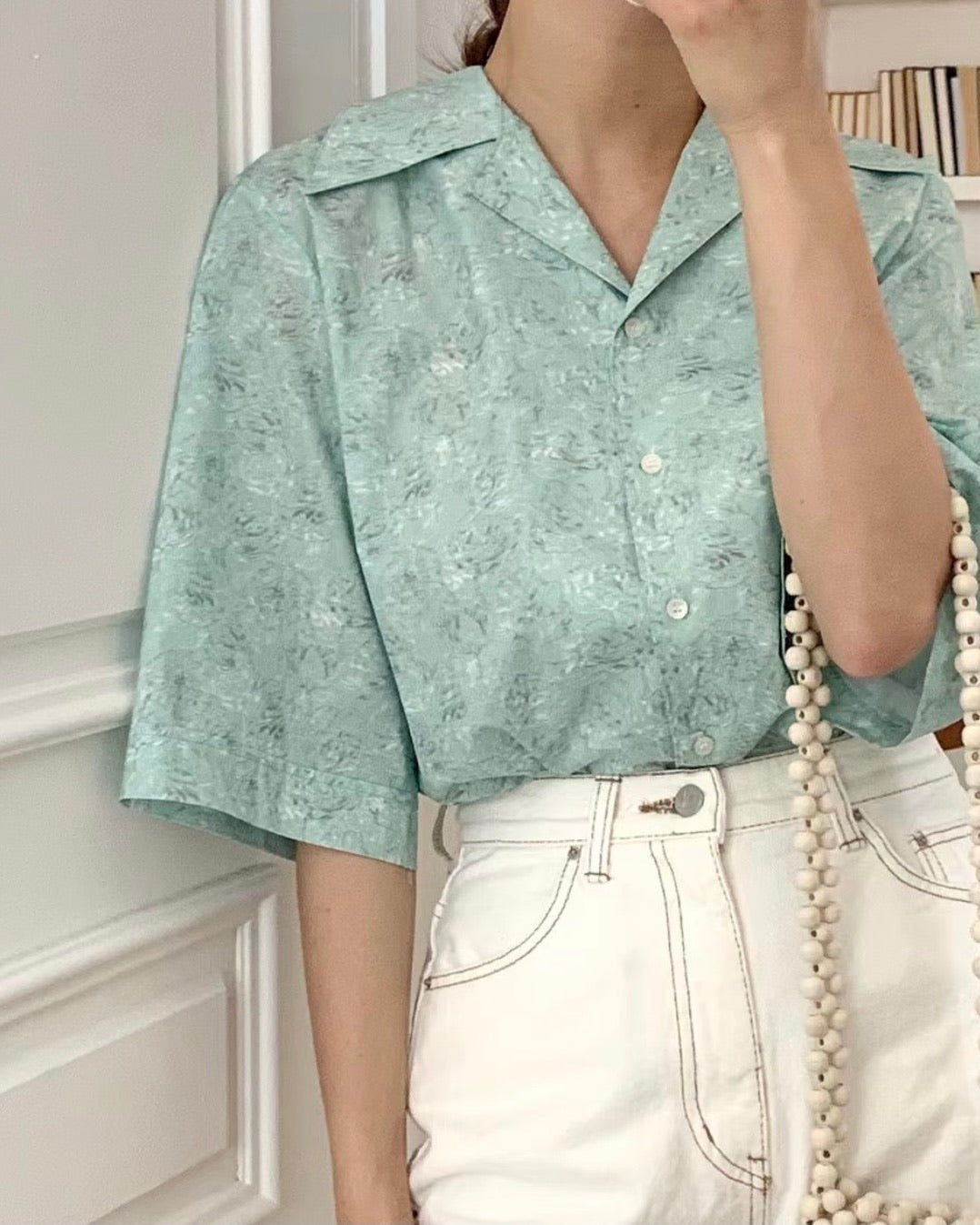 Floral Printed Button Collared Blouse