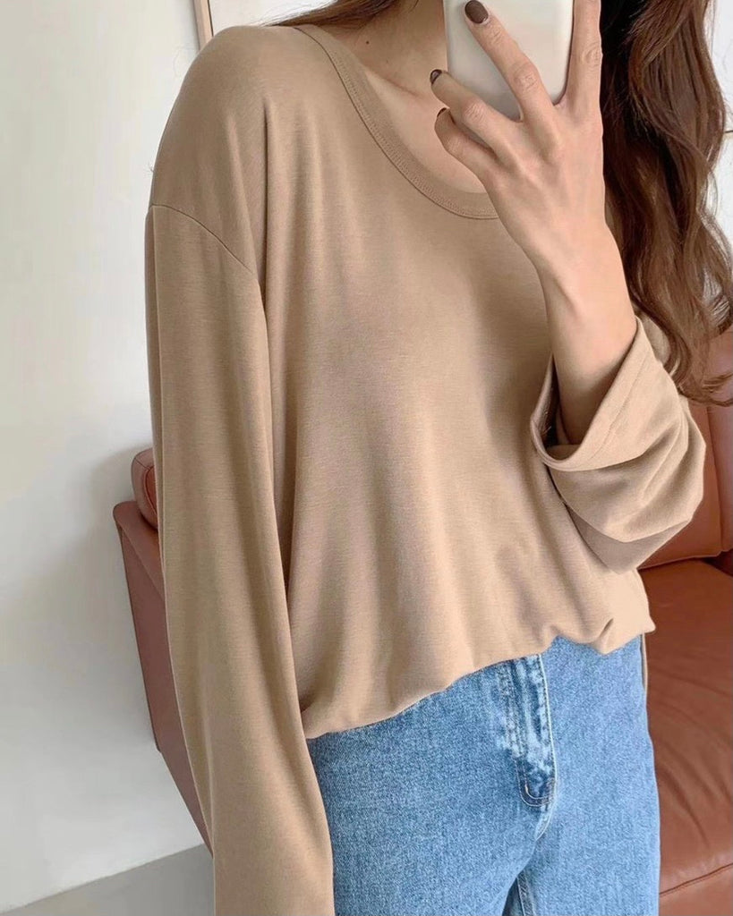 Jaylyn Loose Long Sleeve Tee (Beige)