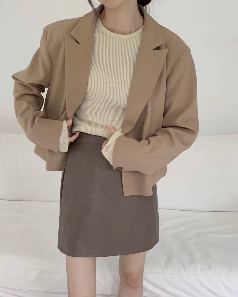 Yuka Single Button Jacket (Beige)
