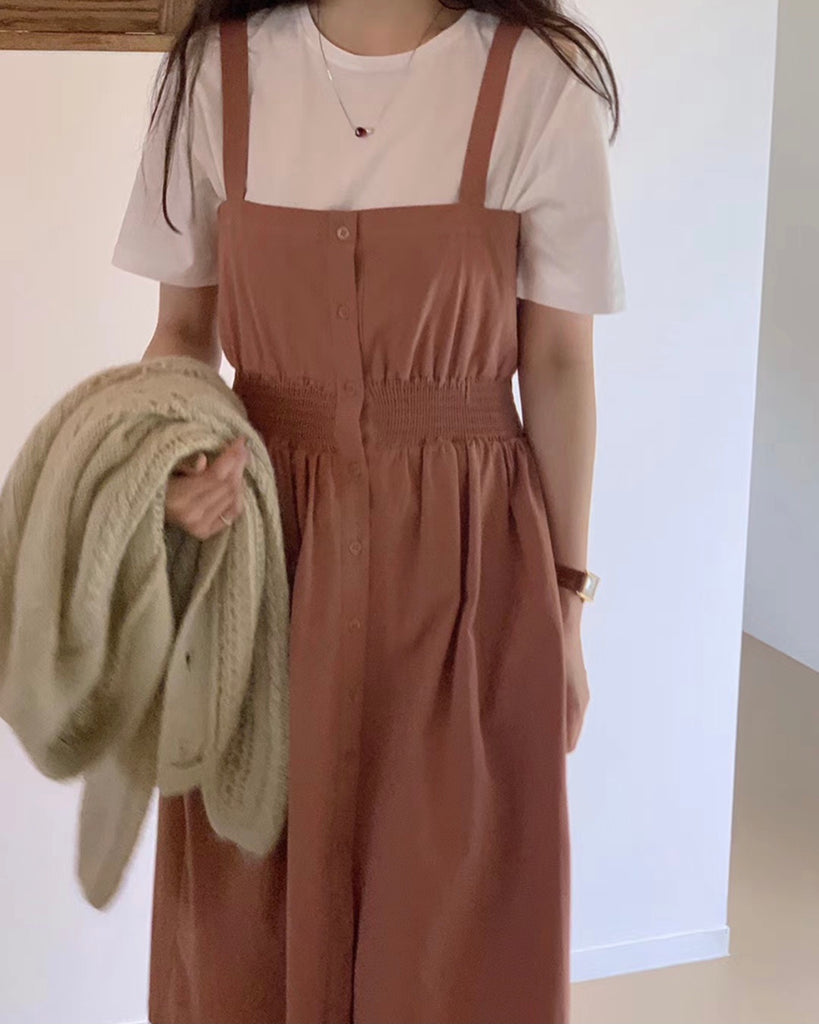 Square Button Mid Smocked Ops (Brown)
