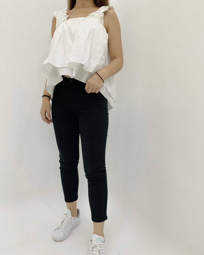 Ruched Strap Flare Crop Blouse (Ivory)