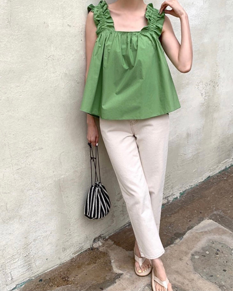 Ruched Strap Flare Crop Blouse (Green)