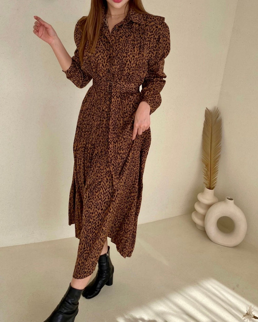 Helen Leopard Print Pleated Ops (Brown)