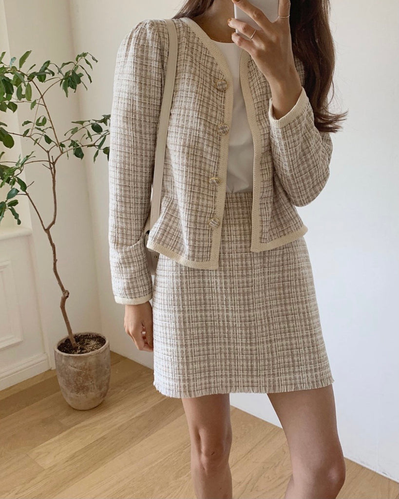 Joselyn Puff Sleeved Tweed Jacket (Ivory)
