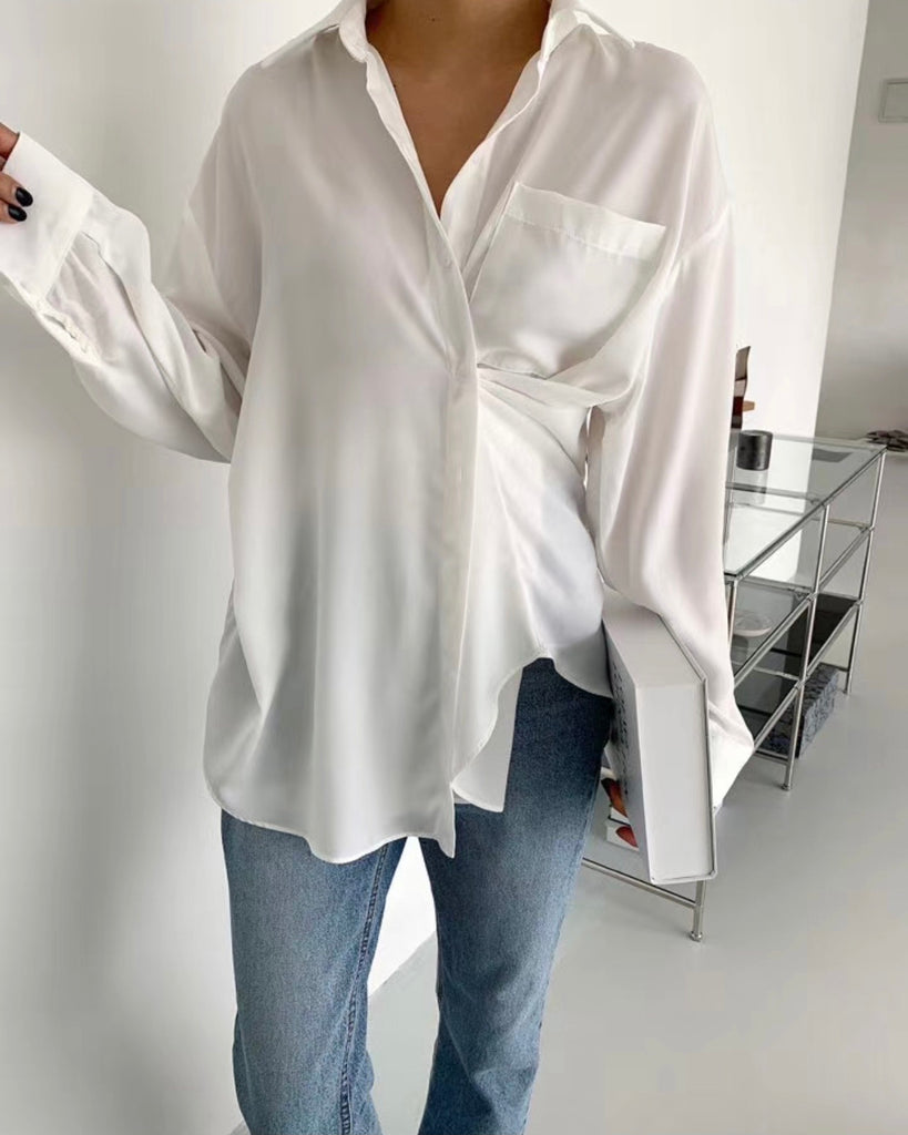 Kinley Side Button Shirt (Ivory)