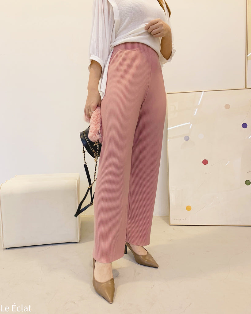 Ribbed Banded Lounge Slacks (Pink)