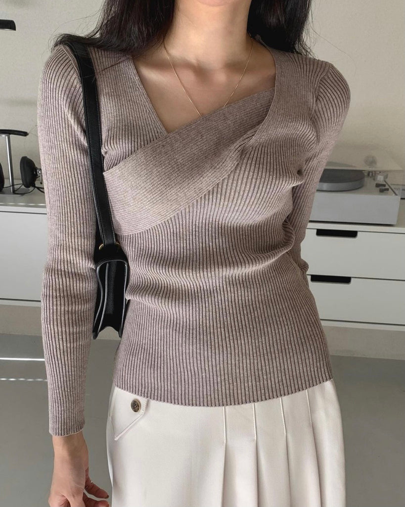 Cross Wrap Detail Knit Top (Beige)