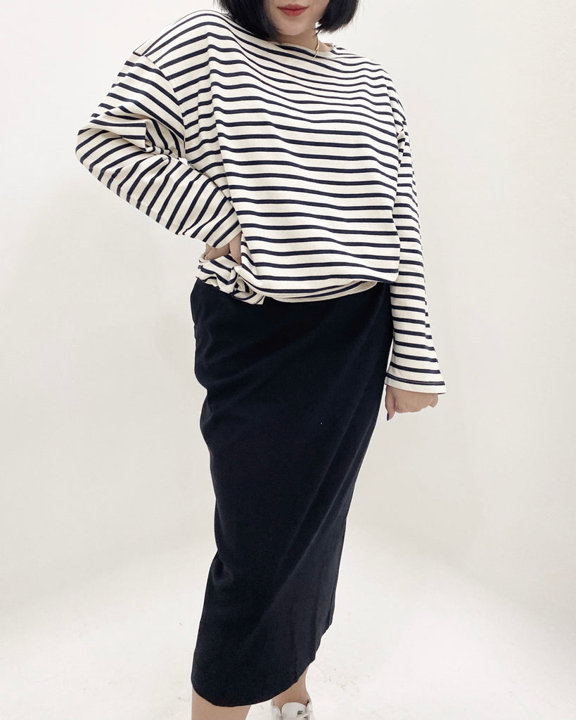 Striped Cotton Long Sleeve Top (Navy)