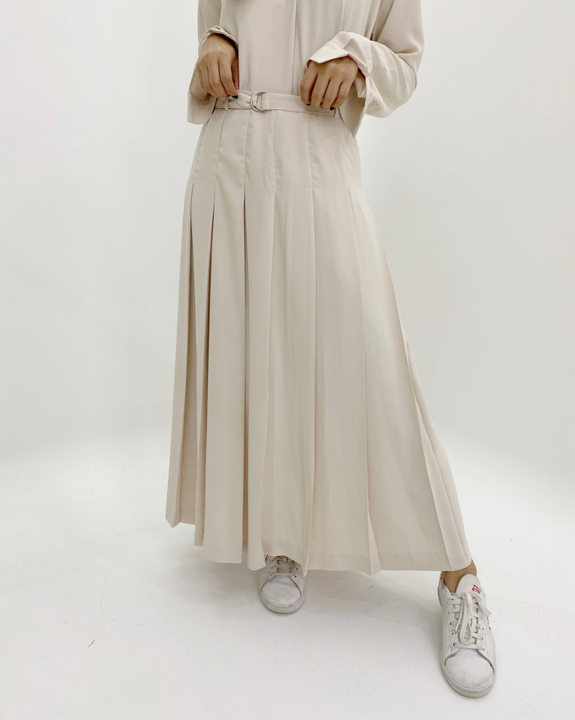 Belted Pleat Skirt (Cream)
