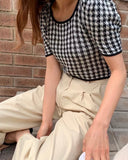 Houndstooth Knit Mid Length Top
