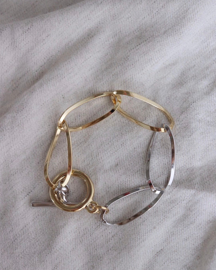 Silver Gold Chain Link Bracelet