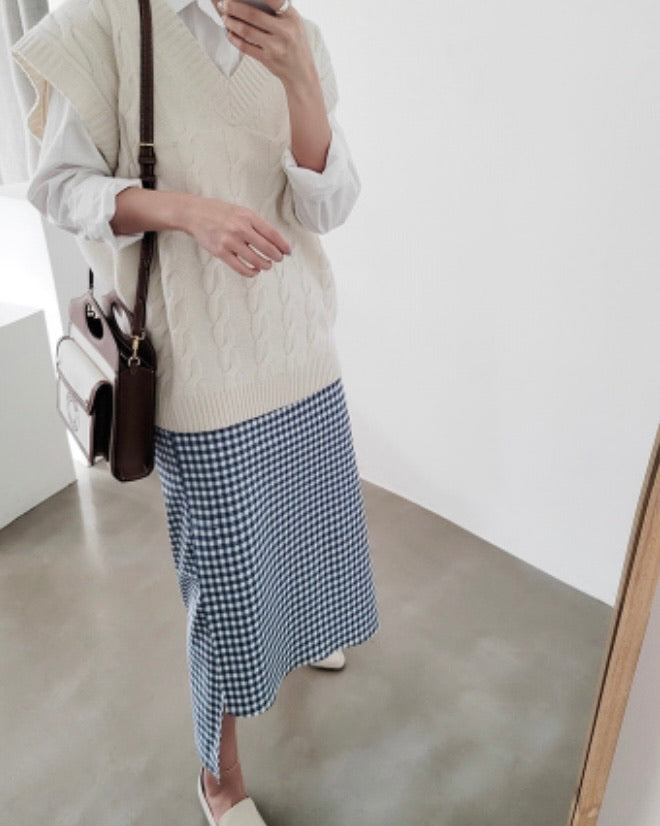 Gingham Asymmetrical Skirt (Blue)