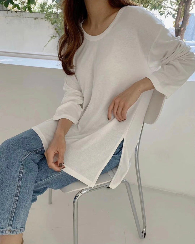 Jaylyn Loose Long Sleeve Tee (Ivory)