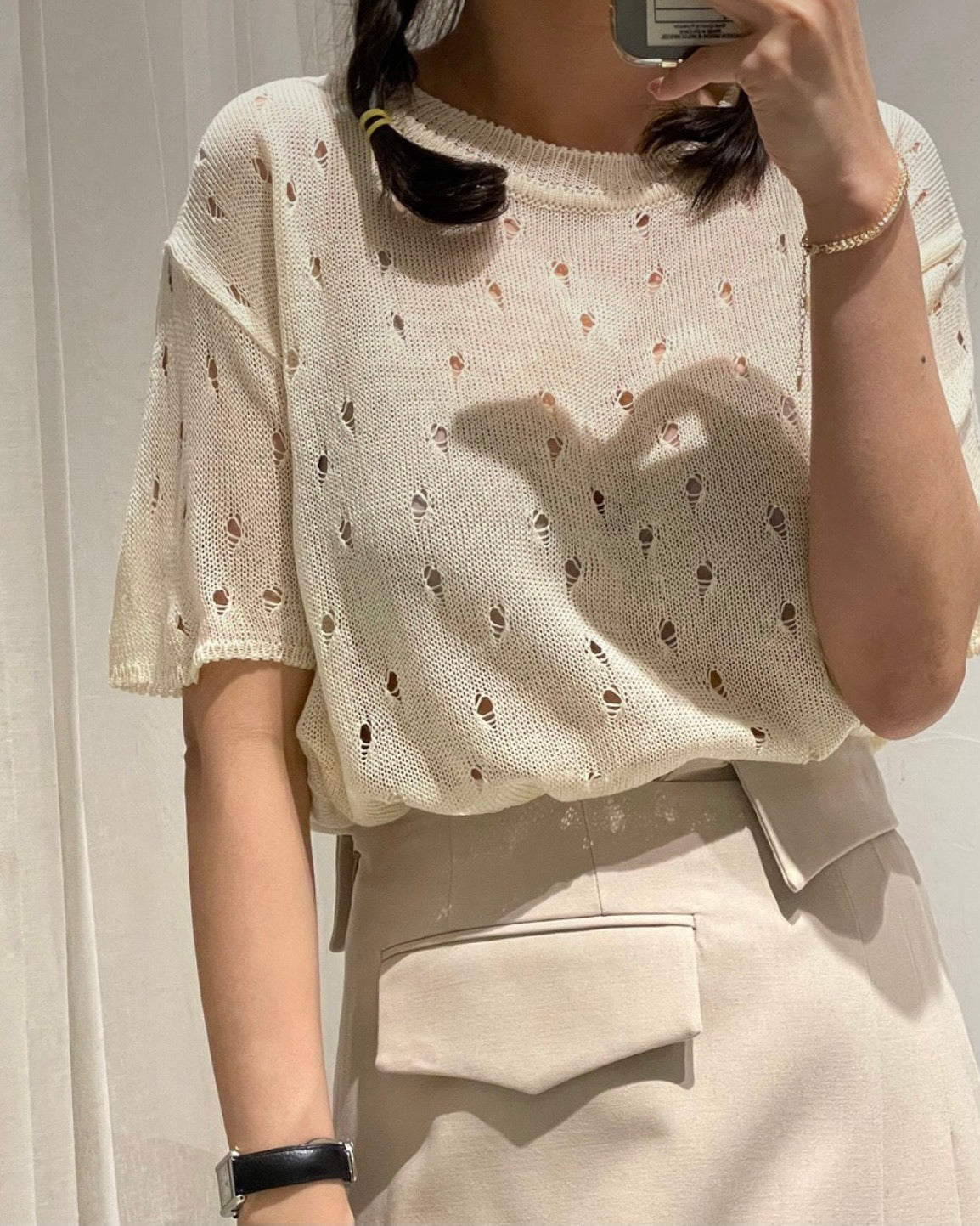 Punch Short Sleeved Knit (Ivory)
