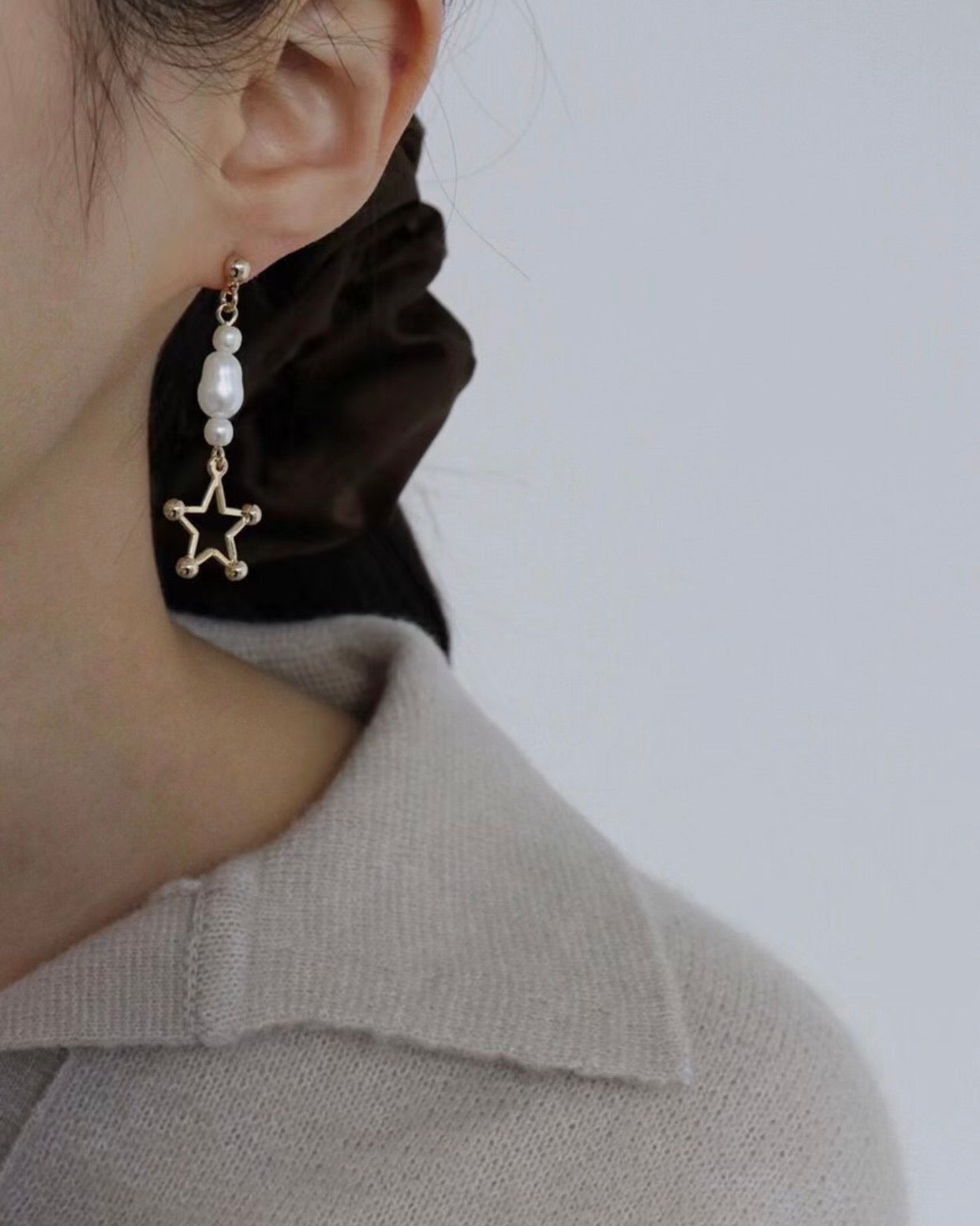 Pearl Star Dangle Earring