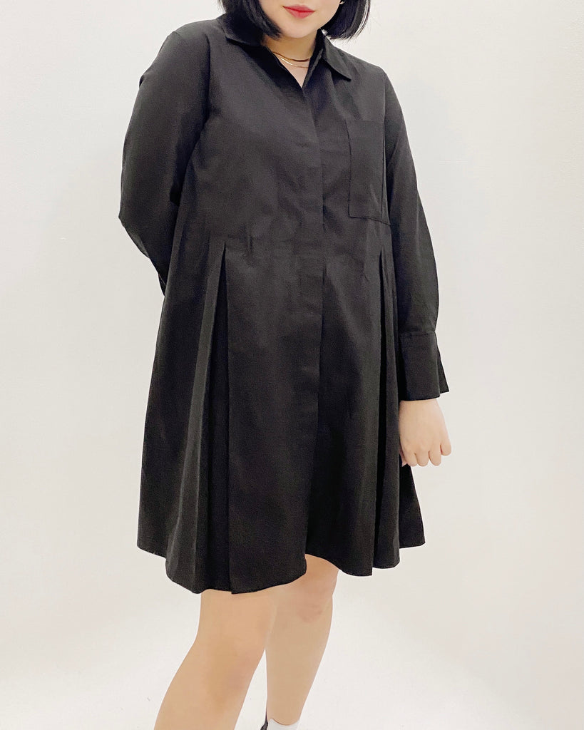 Box Pleat Button Down Ops (Black)