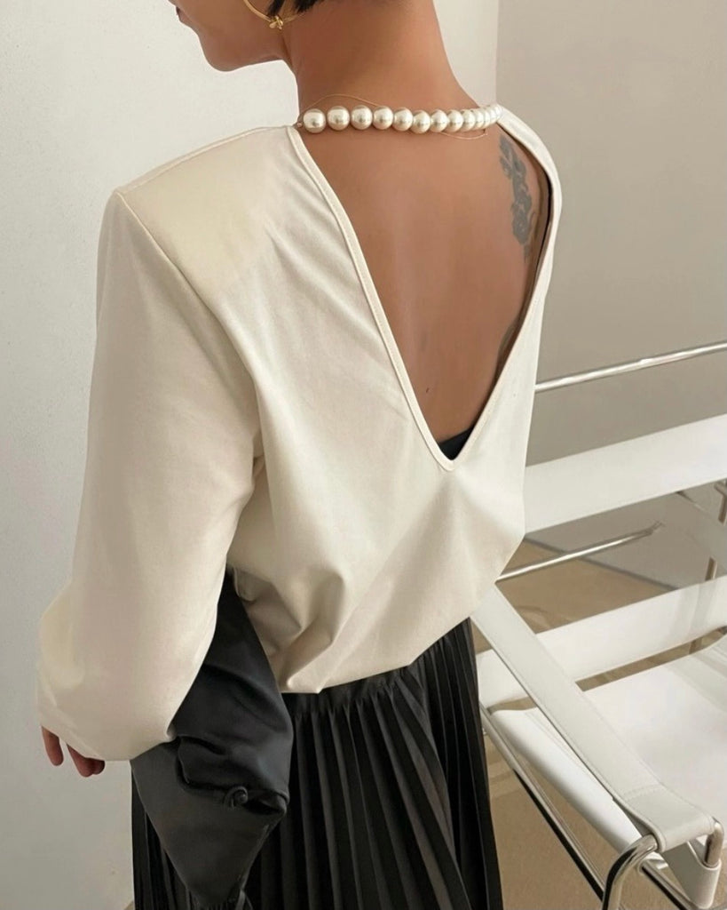 Anya V Back Detachable Pearl Top (Ivory)