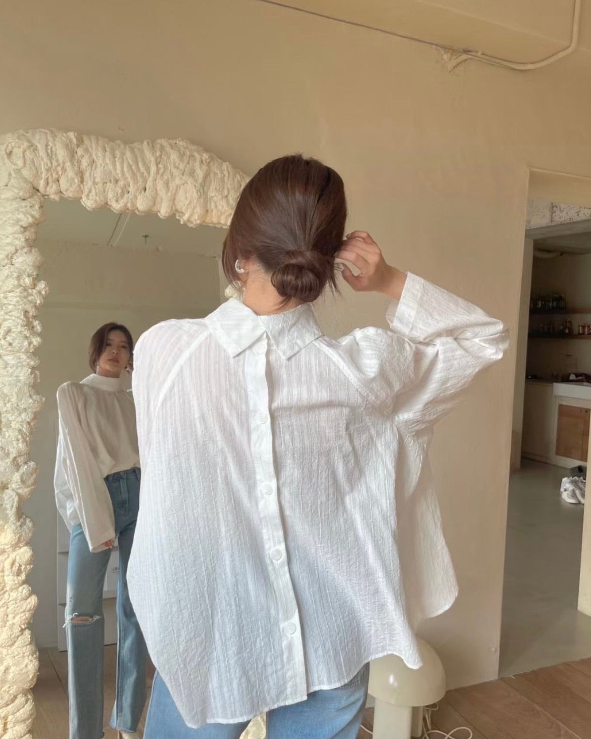 Back Button High Collar Blouse (Ivory)