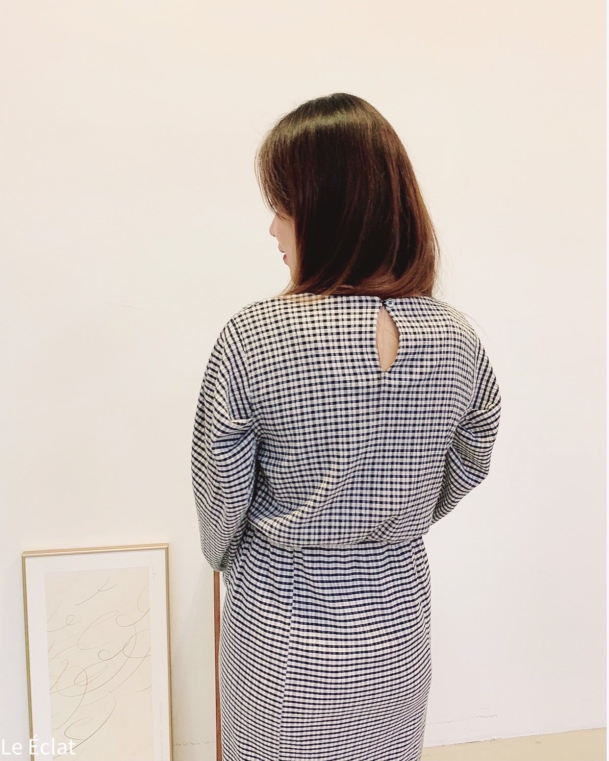 Mini Checked Puff Sleeve Top (Black)