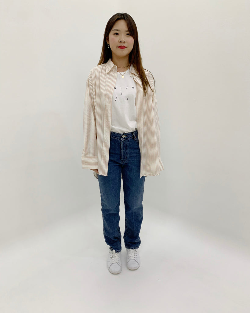 Suji Striped Button Shirt (Beige)