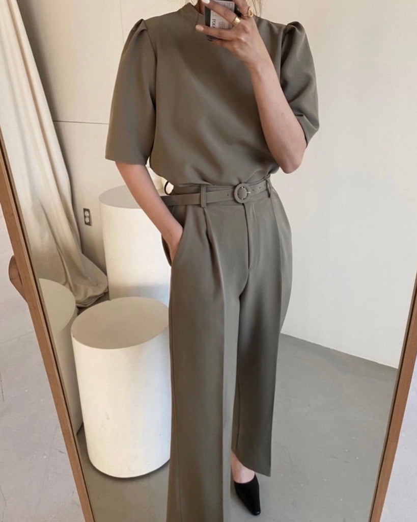 Jeil Puff Sleeved Top & Banded Belted Pants (Khaki)