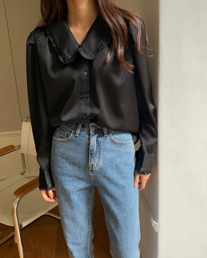Lennon Ruffle Trim Peterpan Collared Blouse (Black)