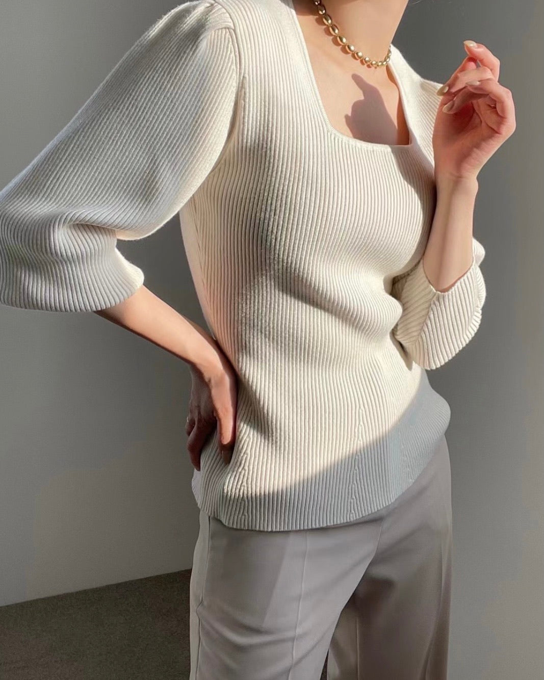 Square Neck Ribbed Knit Puff Sleeve Top (Ivory)