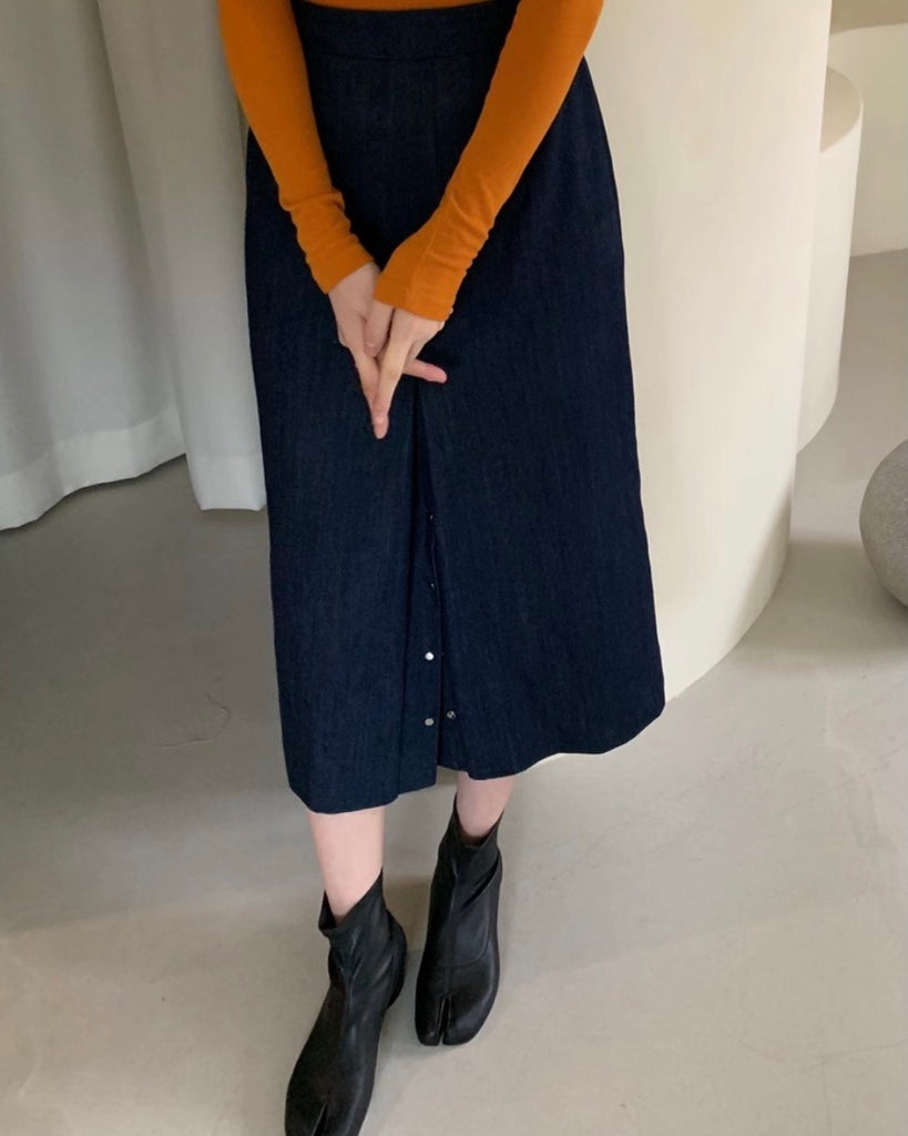 Bottom Button Denim Skirt (Dark Blue)