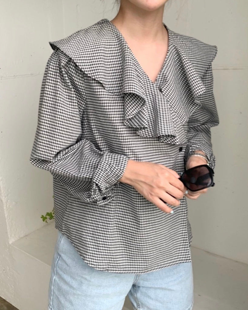 Ruffle Checked Wrap Blouse (Black)