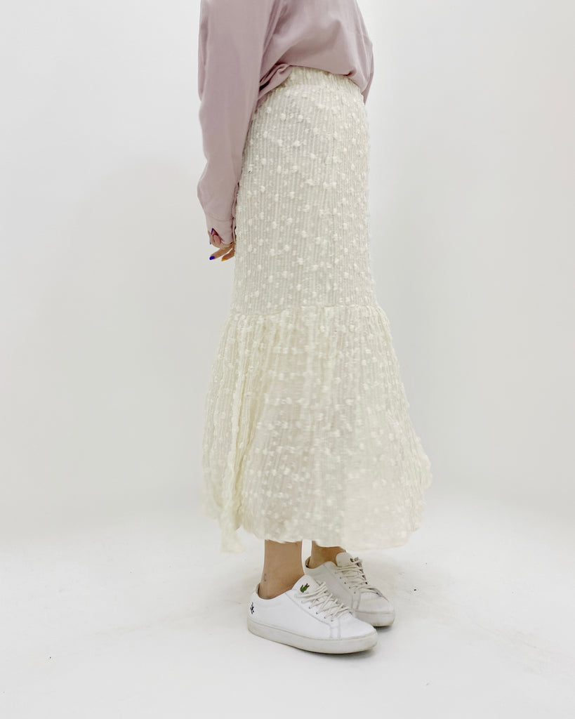 Tinsel Textured Banded Flare Skirt (Cream)