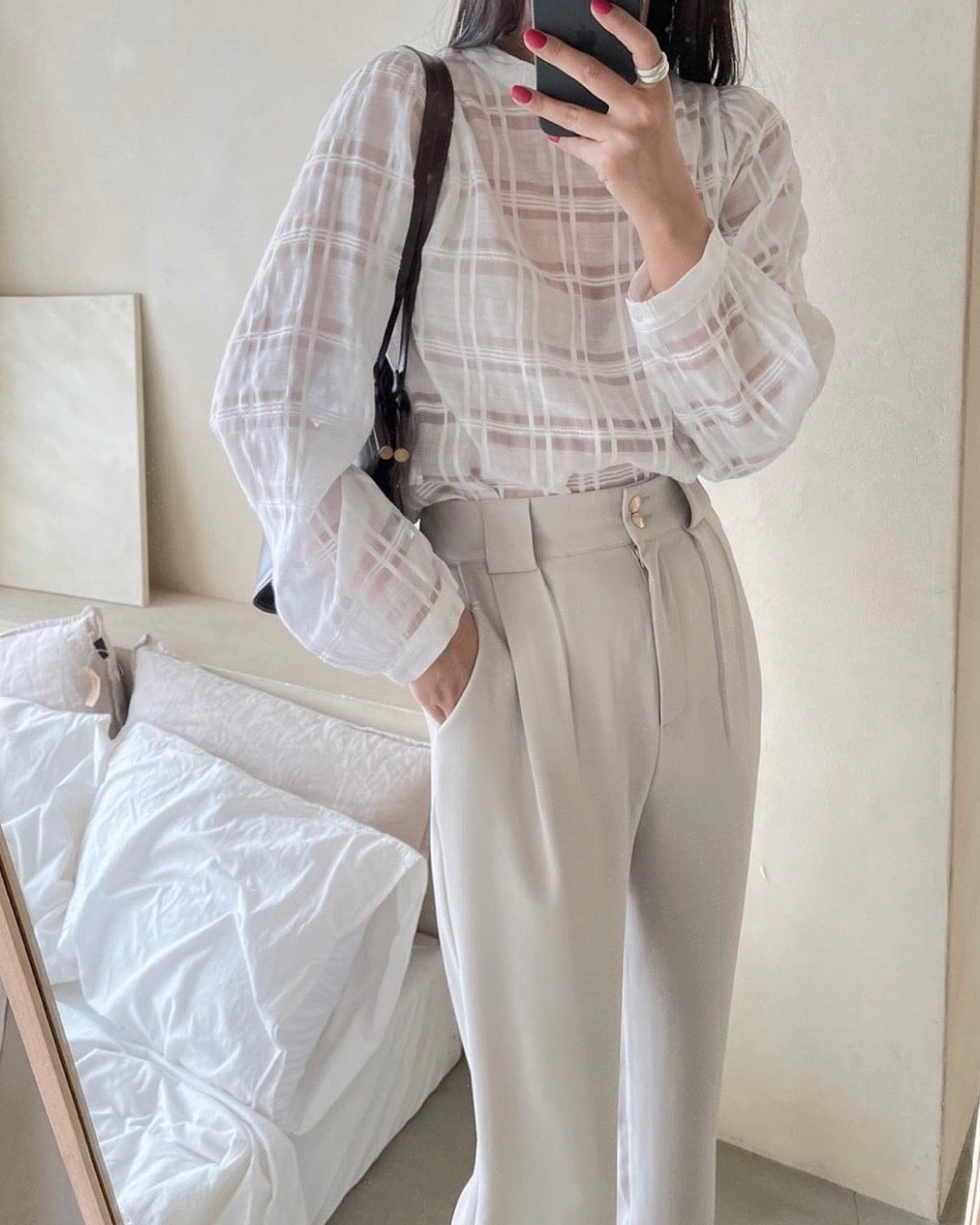Sheer Checked Blouse (Ivory)