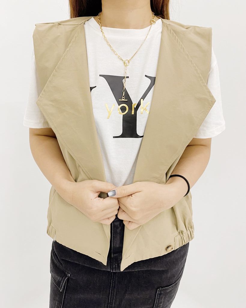 Safari One Button Vest (Beige)