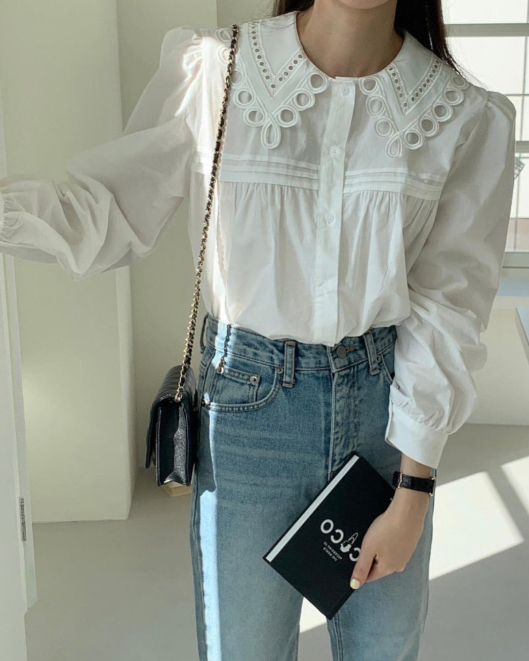 Punch Lace Collar Button Blouse