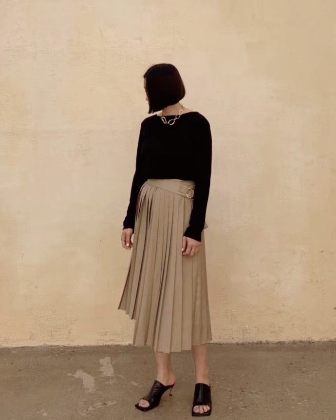Uneven Pleat Wrap Skirt with Belt (Olive)