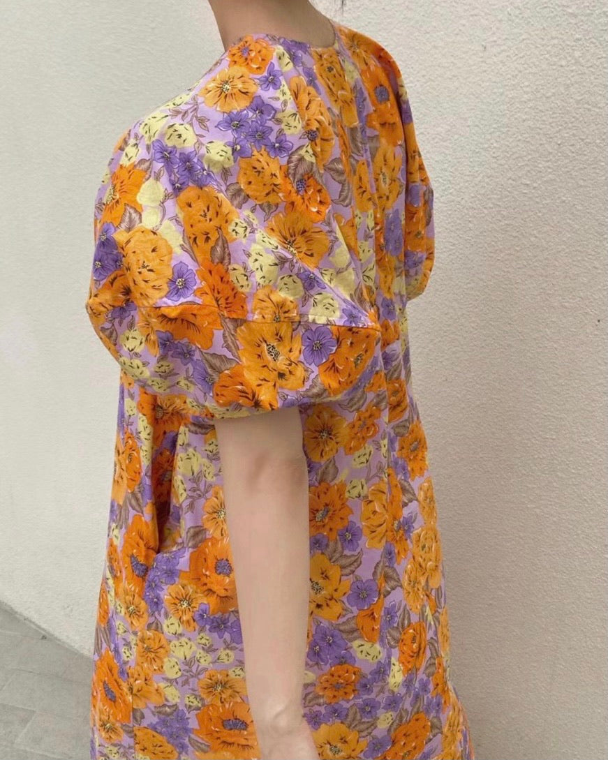 Bubble Sleeve Floral Printed Ops